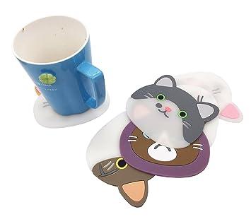 Posavasos de silicona, 6 piezas, diseño de gato - lindo tapete de seda, buen agarre, protección de la mesa evita daños en los muebles: Amazon.es: Hogar