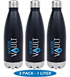 WaterVault Stainless Steel Thermo Water Bottle, Vacuum Insulated Double Walled, Keeps Hot to 12 Hours Cold to 36 Hours – BPA Free Cola Shaped Thermos Bottle (12oz, 17oz, 26oz, and 1 liter)