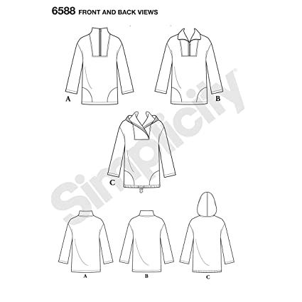 Amazon.com: NEW LOOK Sewing Pattern 6588 - Unisex Tops, A (XS-S-M-L-XL): Arts, Crafts & Sewing