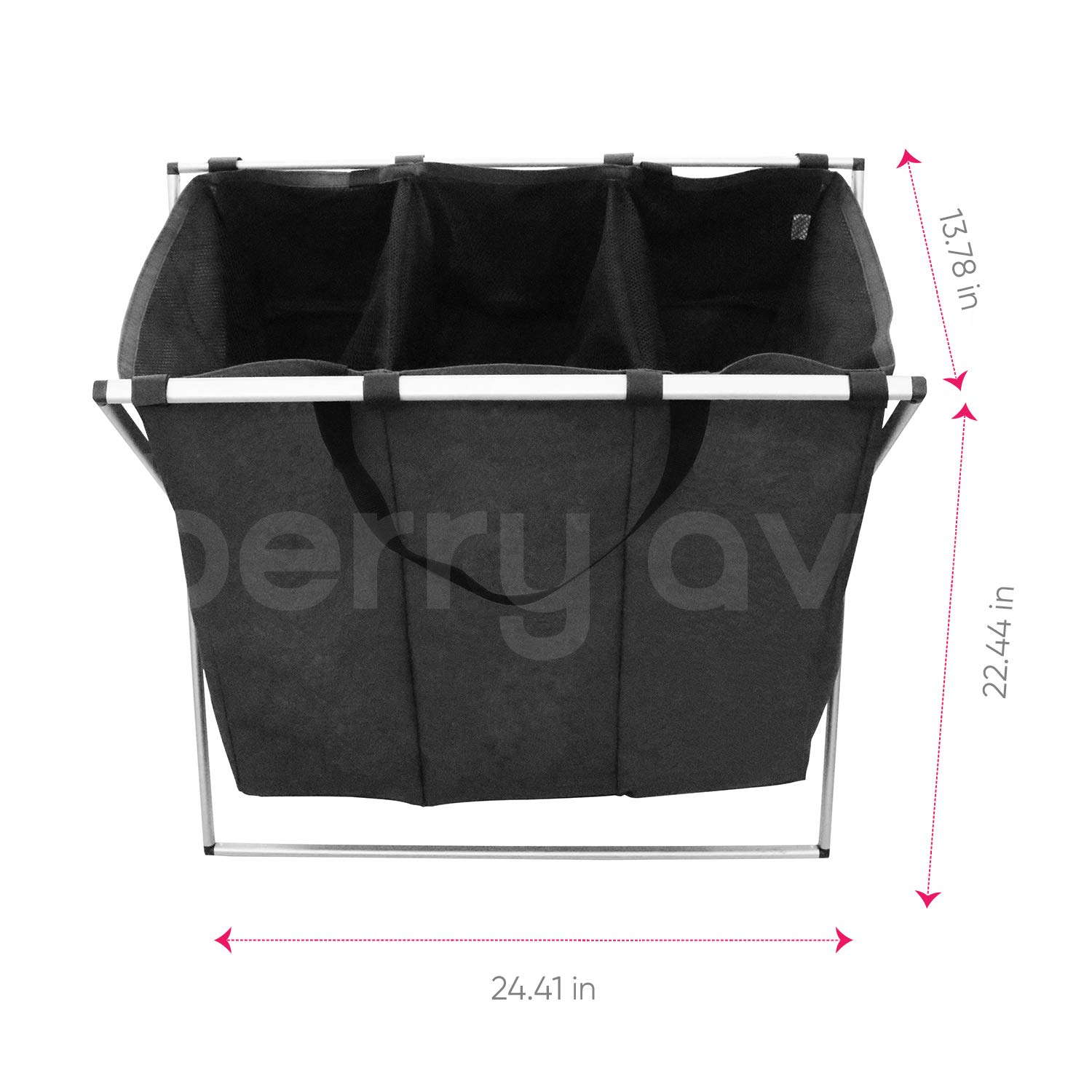 Home and College Use Berry Ave Tri-Part Laundry Basket Hamper with Wheels Grey Smart Rolling Design Adults Tall Tri-Part Bin Dirty Clothes Organizer for Kids Dark, Light, Color