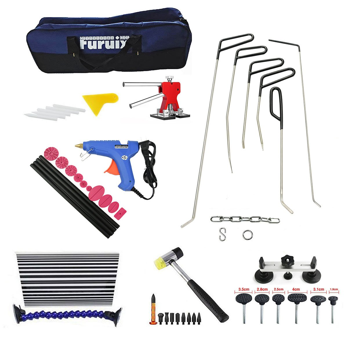 Furuix 53pcs Paintless Dent Repair Kit PDR Rods C Series Dent Puller Kit Dent Lifter Paintless Dent Removal PDR Kit Door Ding Repair