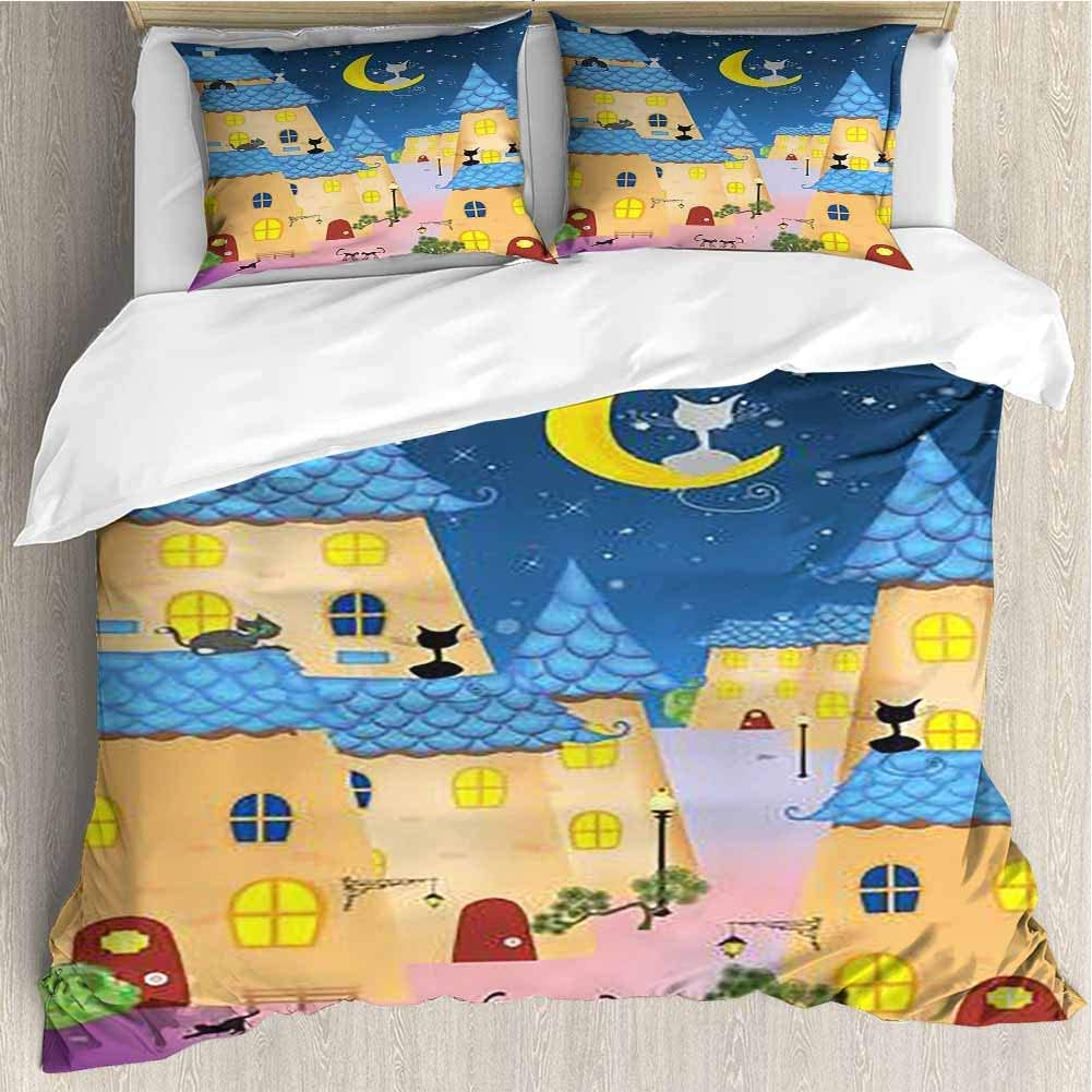 HoBeauty home Duvet Cover Set Composition with Cats That Rest on a Moonlit Night Decorative 3 Piece Bedding Set with 2 Pillow Shams Queen Size 89x89 inch