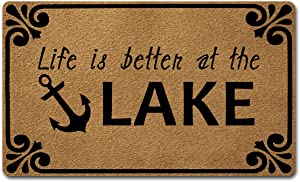 Welcome Door Mats for Home Decor (18 x 30 inch) Funny Mats with Anti-Slip Rubber Back Kitchen Rugs Personalized Doormat for Entrance Way (Life is Better at The Lake)