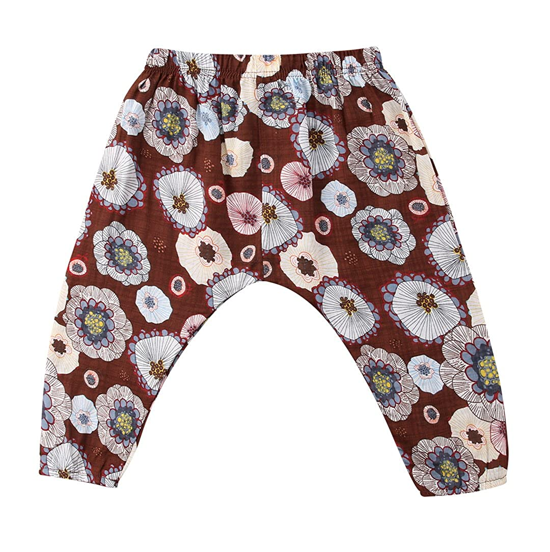 Faithtur Toddler Baby Boys Girls Cotton and Linen Floral Trousers Casual Summer Trousers