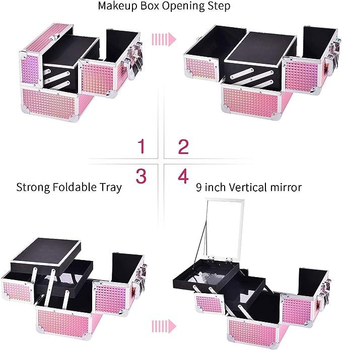Kosmetikkoffer Schminkkoffer Makeup Koffer Schminktasche Kosmetiktasche Pink Rosa Kosmetik Make up Organizer Koffer mit Spiegel Multikoffer Etagenkoffer Mit Schl/üssel und Spiegel verschlie/ßbar