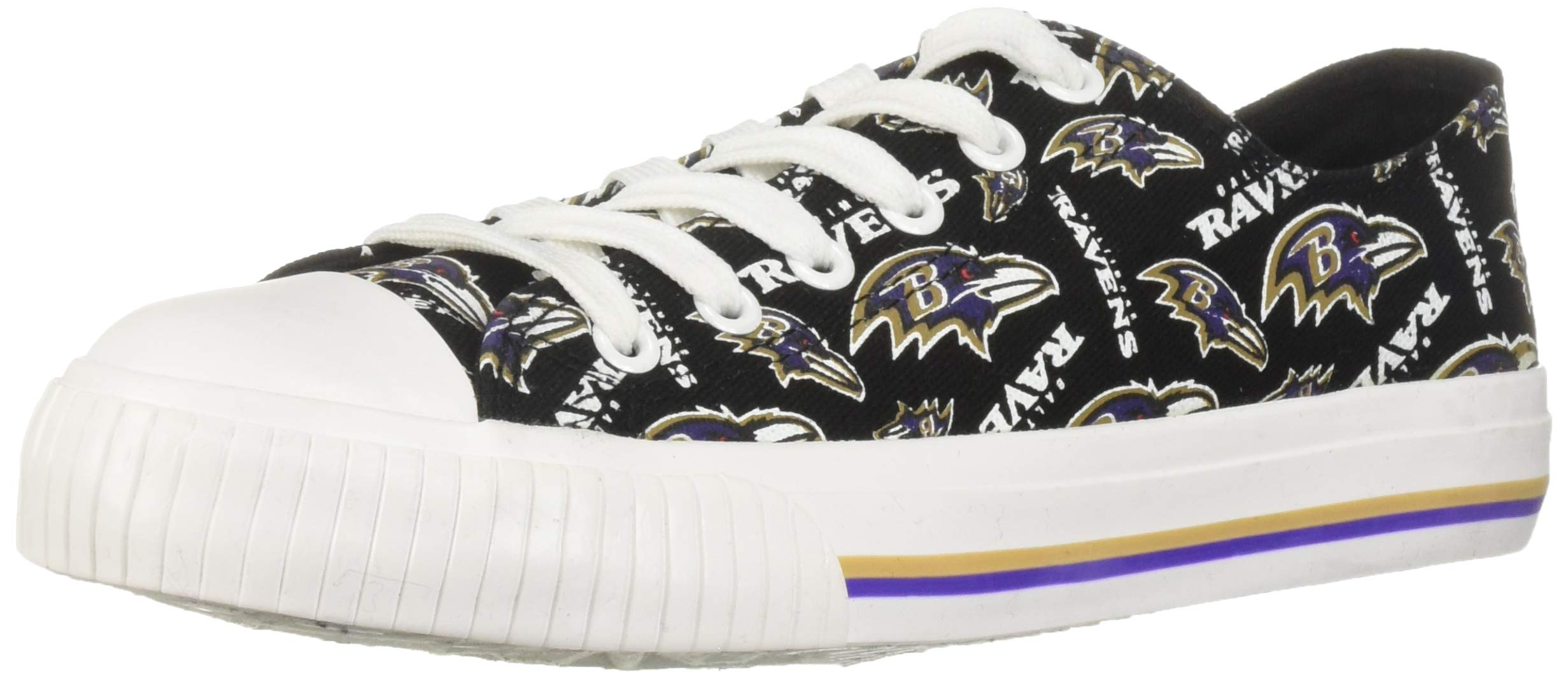 FOCO NFL Womens Low Top Repeat Print Canvas Shoe: Baltimore Ravens, Small