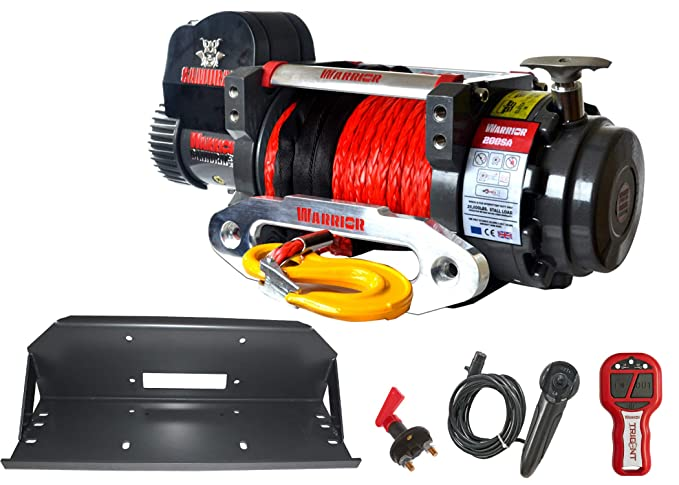 cabestrante con cable eléctrico Warrior Samurai S 20000 S 20000 9,1 T 24 V cable plástico - Profi juego mando a distancia Placa de montaje Todoterreno ATV ...