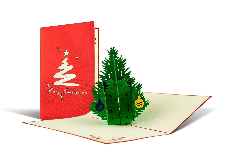 Biglietto di Natale con albero 3d a comparsa, fatto a mano, alta qualità, cartolina di auguri natalizi pop up, feste natalizie, busta inclusa, rosso e bianco Diese-Klappkarten