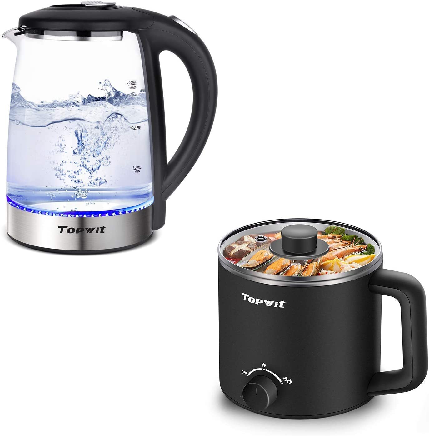 Topwit 2L Electric Kettle Glass with Auto Shut-Off & Boil Dry Protection and Electric Hot Pot, Mini Ramen Cooker, 1.6L Noodles Pot, Black