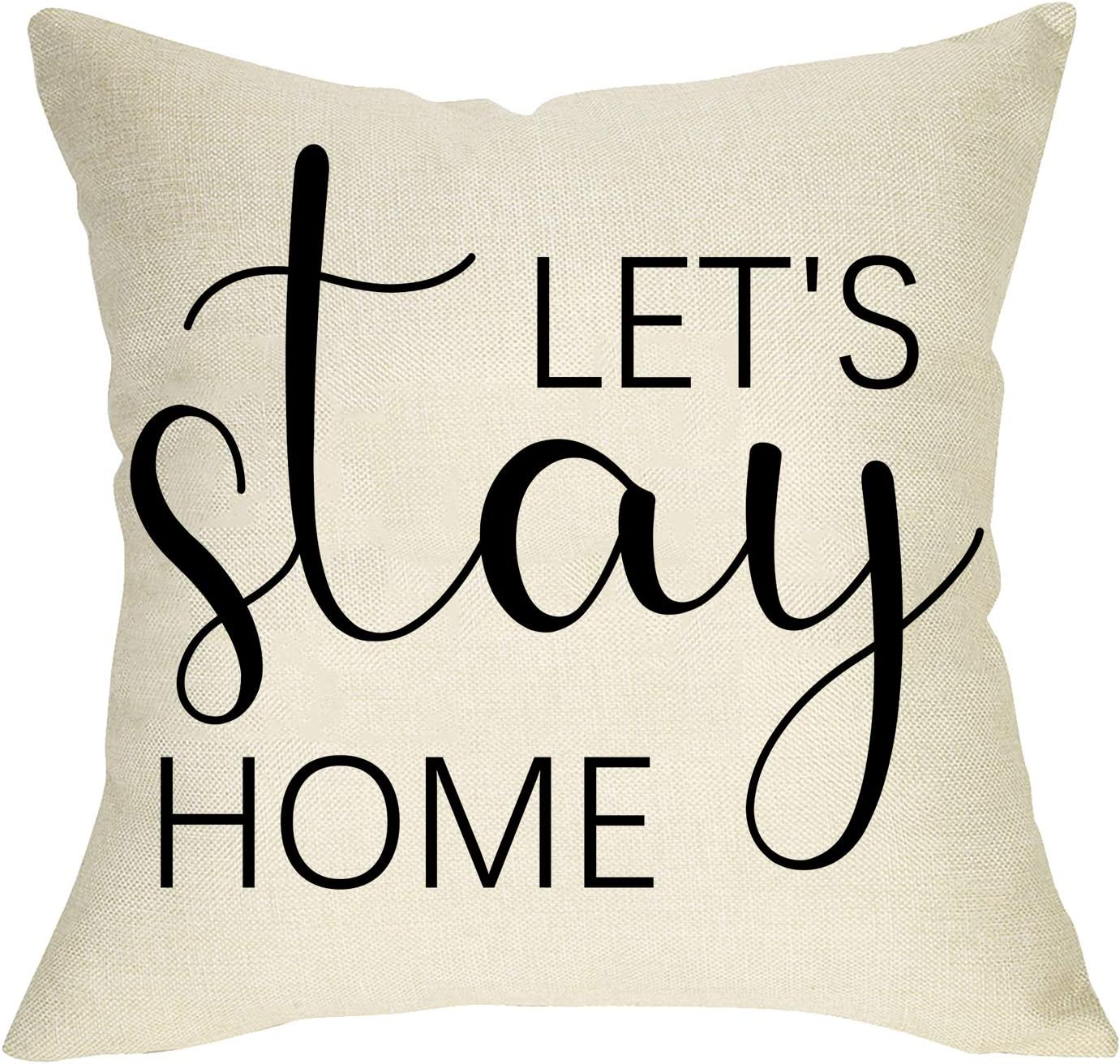 Pycat Let's Stay Home Throw Pillow Cover 18 x 18 Sofa Couch Rustic Decoration Farmhouse Home Décor Housewarming Gift Quote Decorative Pillowcase Cotton Linen Cushion Case