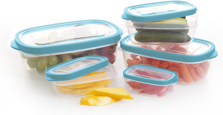 BINO 10-piece Rectangular Plastic Food Storage Set, Aqua
