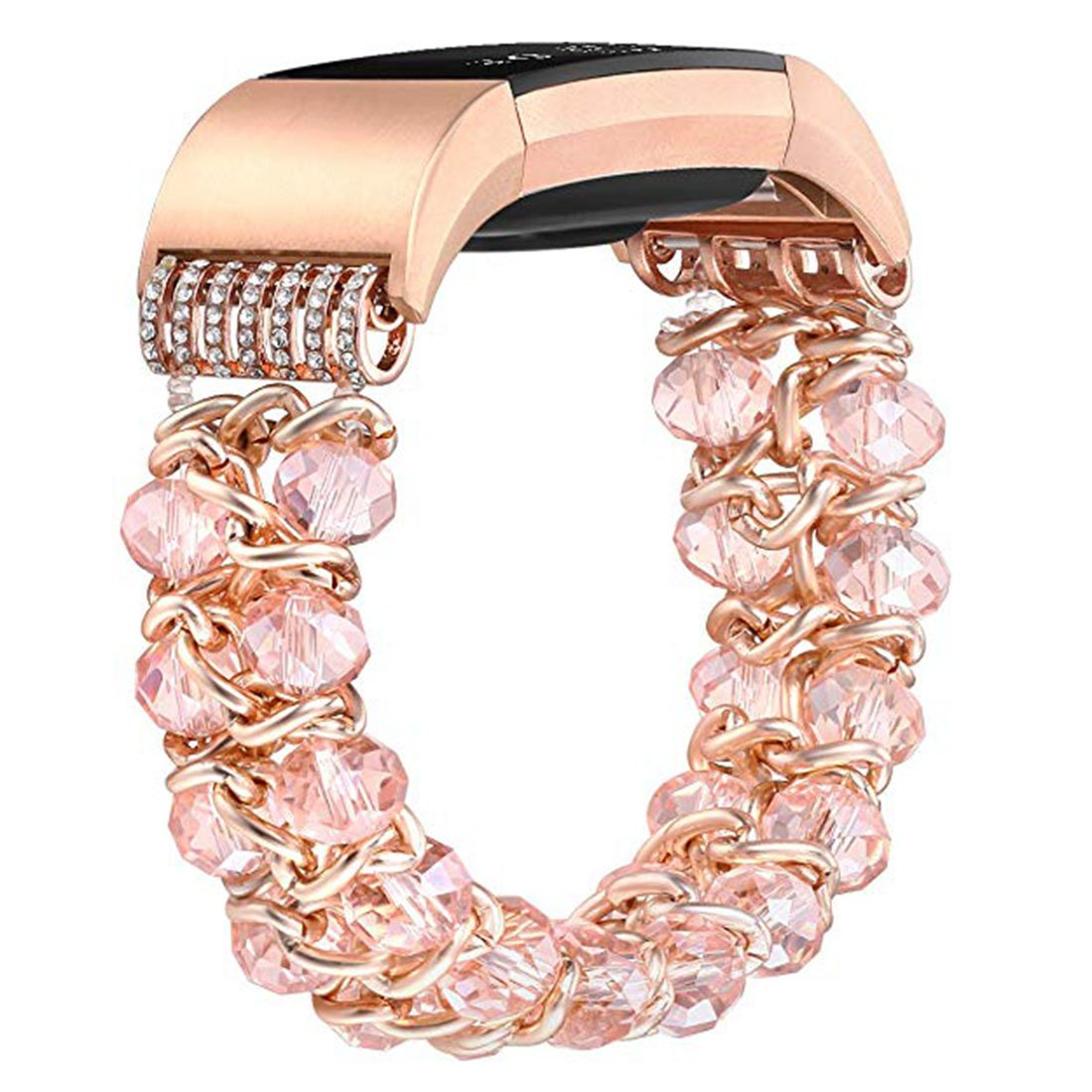 Watch Band for Fitbit Charge 2,Jewelry Bracelet with Crystal Beads Replacement Wristband for Smart Watch (Rose Gold Color Plated)
