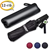 Wsky 12 Ribs Windproof Umbrella, Reinforced Travel Umbrella with Teflon Coating, Compact Waterproof Umbrella with Auto Open Close Button - Elegant Leather Cover