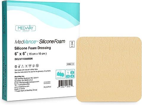 MedVancTM Silicona: apósito absorbente de espuma adhesiva de silicona, 15 cm x 15 cm, caja de 5 apósitos: Amazon.es: Salud y cuidado personal