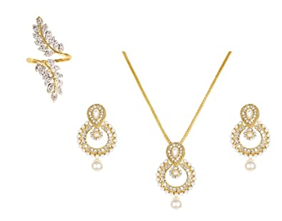 Buy lady touch combo of ramleela pearl pendant set with chain and lady touch combo of ramleela pearl pendant set with chain and ring for girls women mozeypictures Choice Image