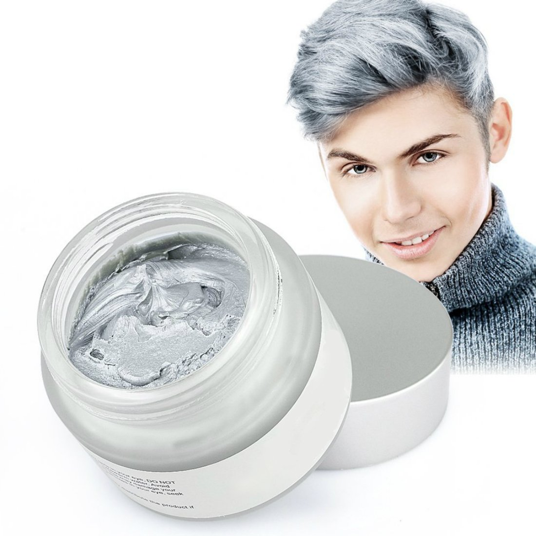 Mofajang Hair Wax Dye Styling Cream Mud, Natural Hairstyle Color Pomade, Washable Temporary, Gray by MOFAJANG (Image #1)