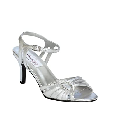 b5122a82b37 Dyeables Ariana Extra Wide Silver Wedding Shoes Size 2.5  Amazon.co ...