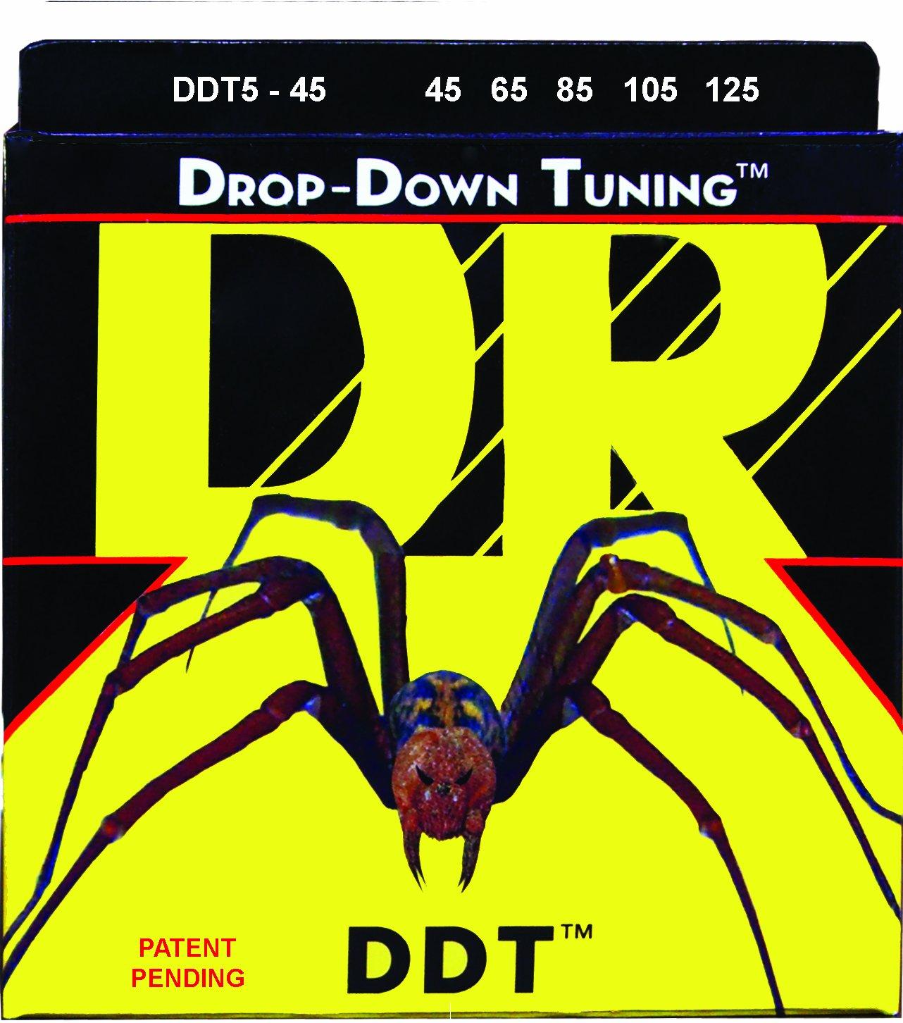 DR Strings DDT5-45 Stainless Steel Bass Guitar Strings, Medium DR Handmade Strings