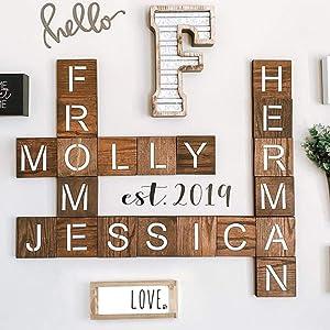 STENCILIT Alphabet Letter Stencils 4x4 Inch 30Pcs - Scrabble Letter Stencils - Large Letter Stencils for Painting on Wood Tiles - Family Names Tile Wall Decor