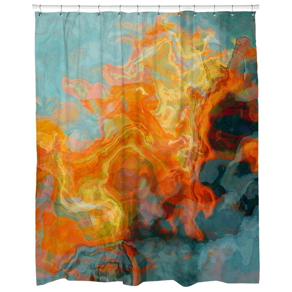 Amazon Abstract Art Shower Curtain In Orange Yellow And Aqua Fire Water Handmade