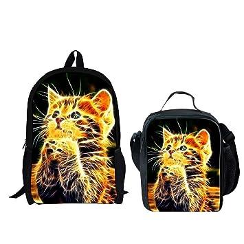 12345d985d7 Amazon.com   HUGS IDEA Pray Cat Print Lightweigh Backpack Set 2 Pcs Cute  Kids School Bag with Lunchbag   Kids  Backpacks