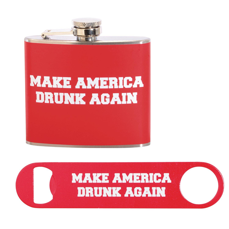 Make America Drunk Again Gift Set: 5 oz. Stainless Steel Flask and Powder Coated Steel Bottle Opener