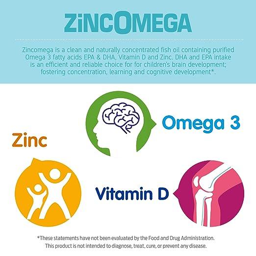 Zincomega Kids Vitamins - Fish Oil Omega 3 Spoons New Essential Fatty Acids  Aid EPA&DHA, Vitamin D