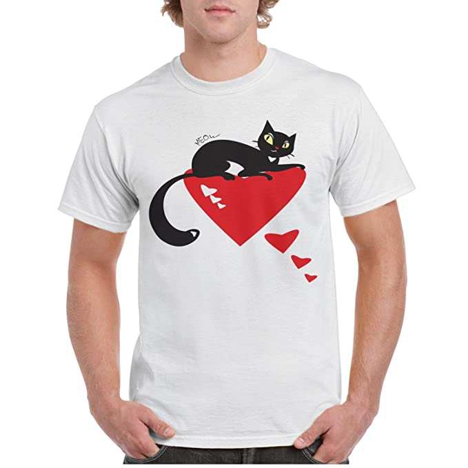 0741e58d Amazon.com: Eoyles Black Cats and Hearts Men Comfortable Distinctive Round  Neck White Custom Shirt: Clothing
