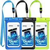 "Mpow Waterproof Case, Universal IPX8 Waterproof Phone Pouch Underwater Phone Case Bag for iPhone X/8/8P/7/7P, Samsung Galaxy S9/S9P/S8/S8P/Note 8, Google Pixel/LG/HTC up to 6.0"" (Black, Green, Blue)"