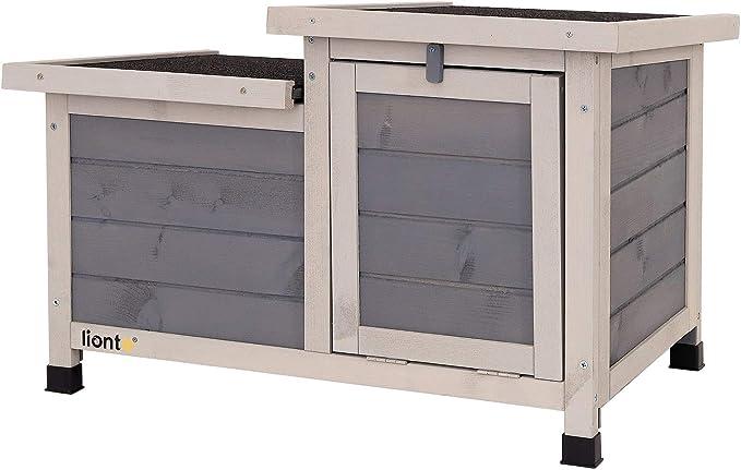 lionto Conejera caseta para roedores Jaula de Madera para Animales Gris 70x43x45 cm
