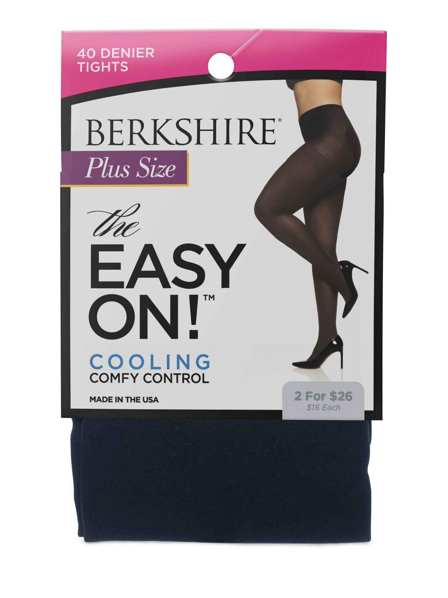Berkshire Women's Plus Size the Easy on 40 Denier Tights, Navy, 1X-2X