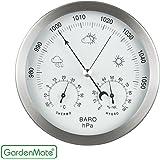 GardenMateà Station météo analogique à 14 cm baromètre thermomètre hygromètre, cadre en acier inox