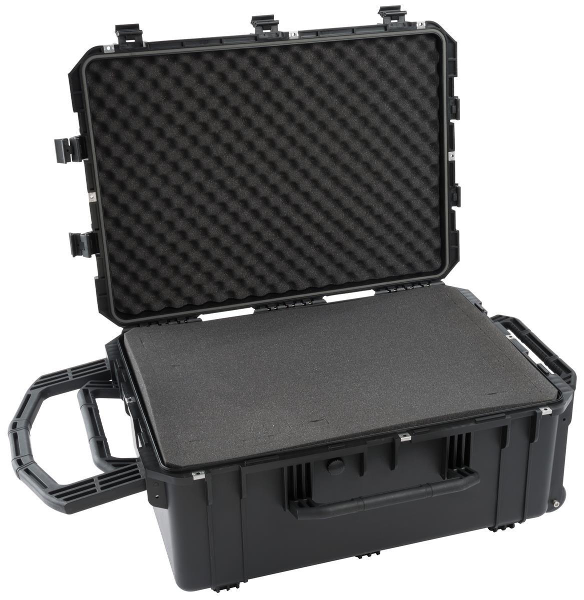 Displays2go Equipment Case with Foam Pads and Air Pressure Release Valve – Black (JFFS01BK)