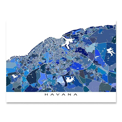 photograph relating to Printable Map of Havana named : Havana Map Print, Cuba, Caribbean Island Artwork