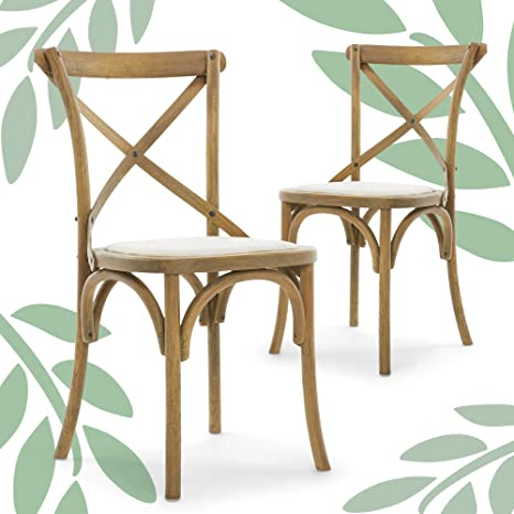 Finch Elmhurst Crossback Chairs Set Of 2 Cushioned Seat French Country Farmhouse Distressed Solid Wood Kitchen Dining Furniture Cream Linen Furniture Decor
