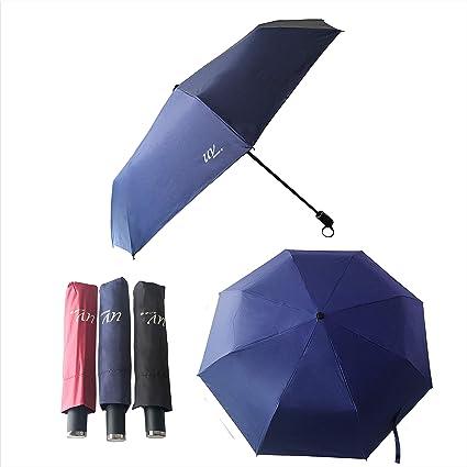 Tinyuet Paraguas Plegable de Viaje, Portátil 26 Inch 8 Costillas Paraguas, Negro Tela de Goma Anti-UV UPF50 para Actividades al Aire Libre - Azul