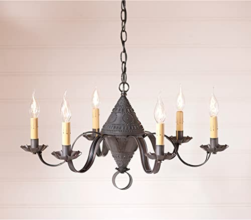 Irvins Country Tinware Concord Chandelier in Blackened Tin