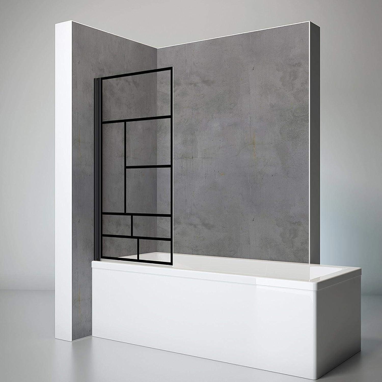 Schulte pare baignoire pivotant, paroi de baignoire rabattable, é cran de baignoire noir, 1 volet pliant, verre dé cor Atelier, 70x130 cm écran de baignoire noir verre décor Atelier D16503 68 118