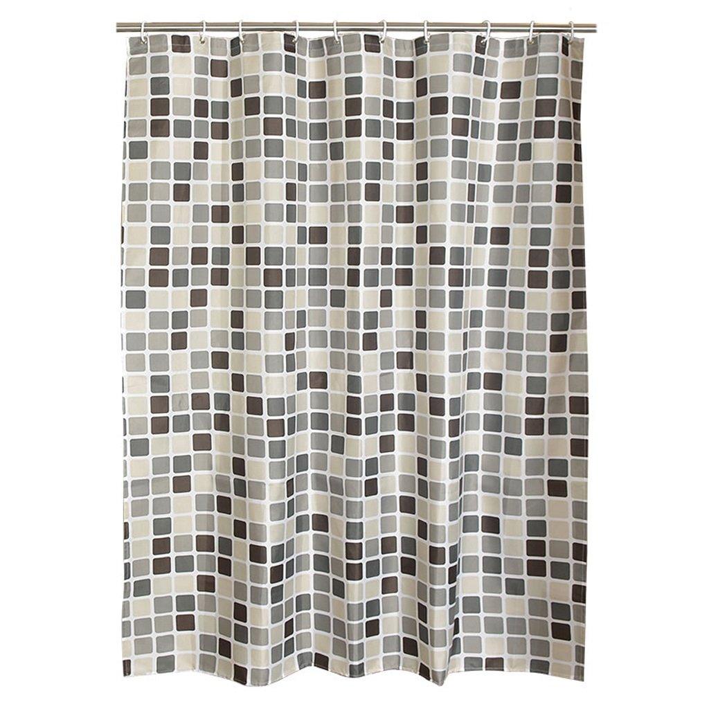 Curtain Shower Curtain, Waterproof Thickening Shower Curtain, Polyester Fabric, Quick-Drying, Mildew, Lattice Shower Curtain Shower Equipment (Size : 180180cm)
