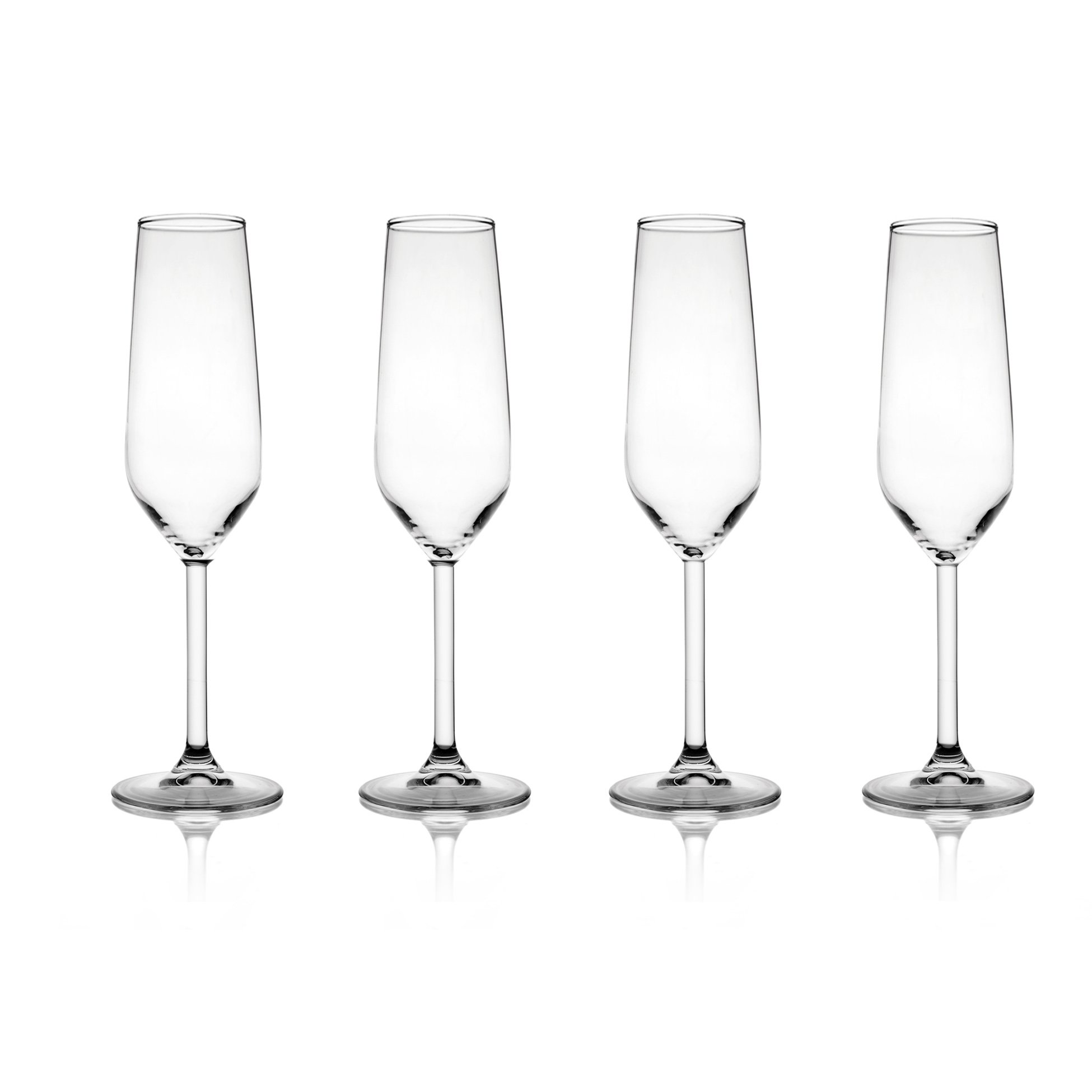 Fitz and Floyd 229319-4CHFF Chateau 6.4 Ounce Champagne Flute Glasses-Set of 4, 2x2x8, Clear