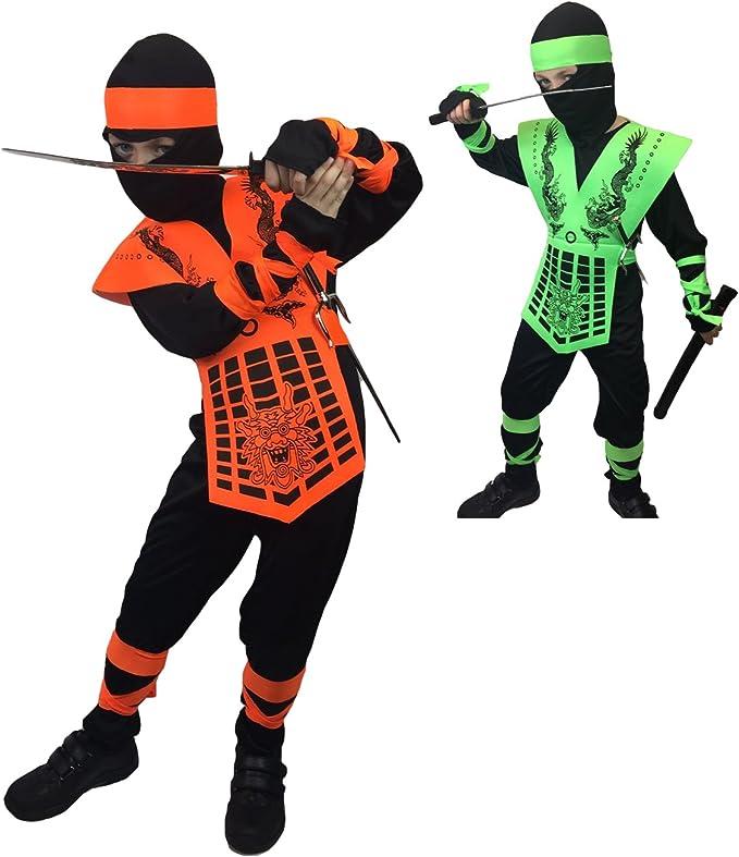 Neon Ninja Costumes, Rubber Johnnies, Kids, 3 Sizes, Orange and Green