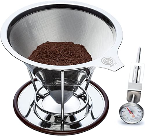 OmBrew Eco-Friendly Pour Over Stainless Steel Reusable Coffee Dripper