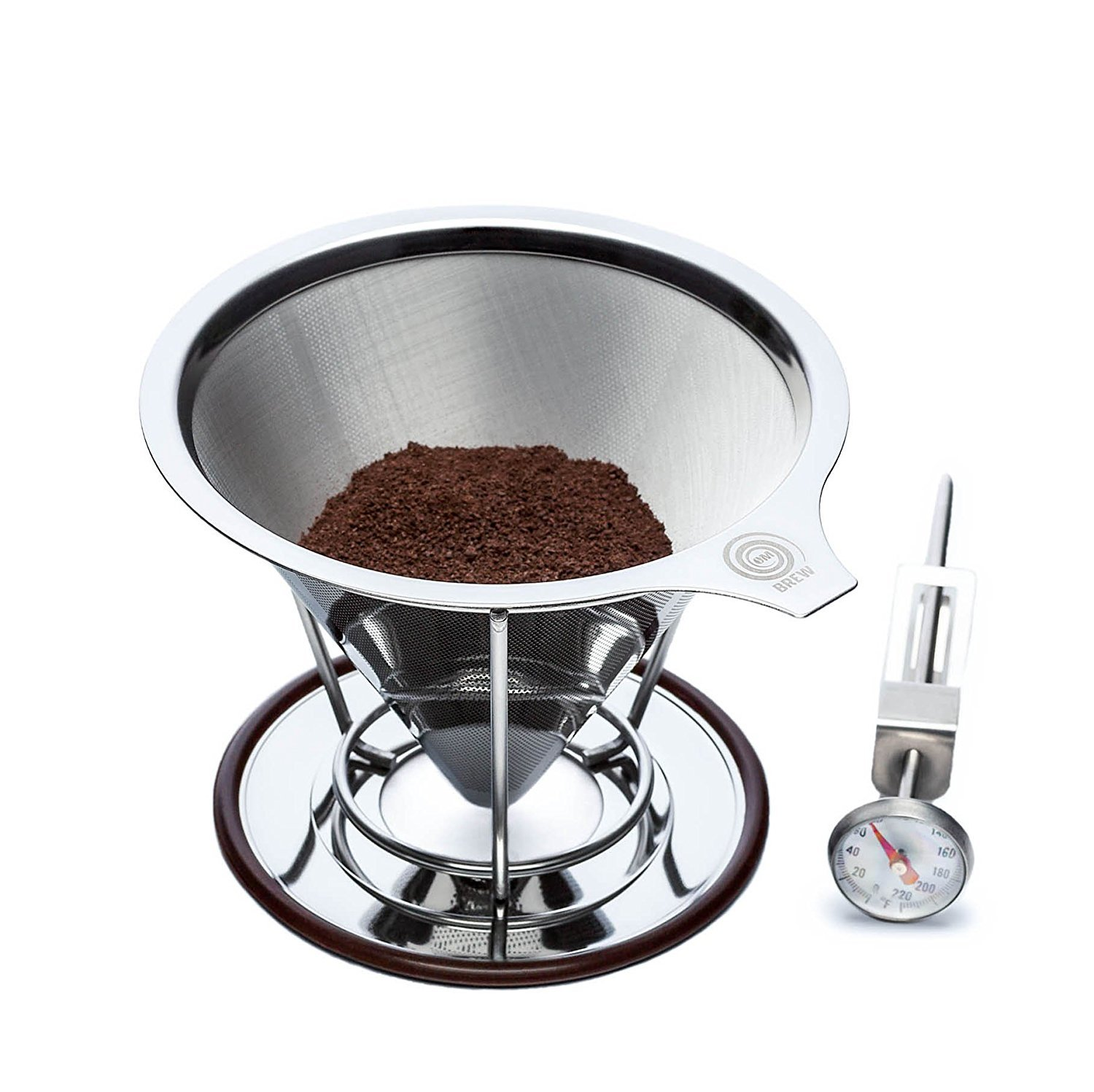 OmBrew Eco-Friendly Pour Over Stainless Steel Reusable Coffee Dripper with Separating Stand -Bundle with Dial Thermometer- Dishwasher Safe and Serves 1-4 Cups by OmBrew