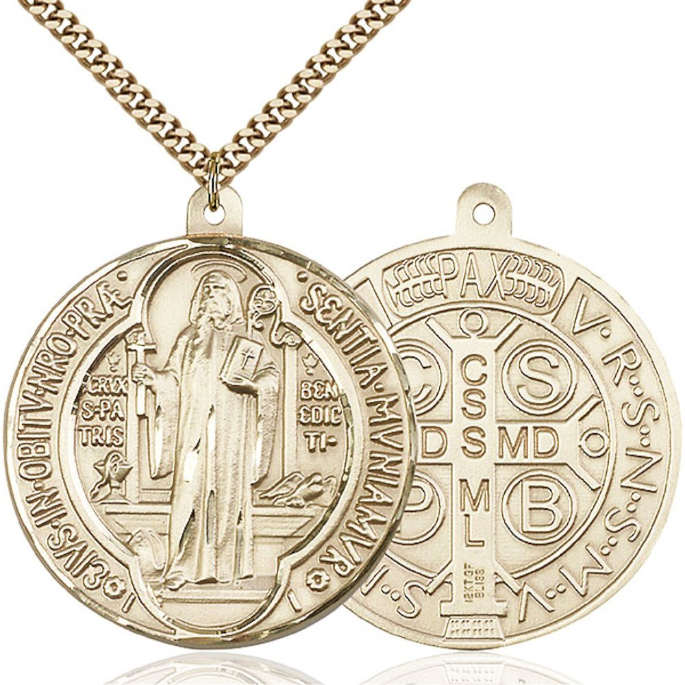 Gold Filled St. Benedict Pendant 1 5/8 x 1 1/2 inches with Heavy Curb Chain by Bonyak Jewelry Saint Medal Collection