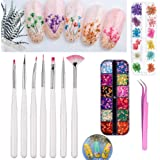 DIY Nail Art Tools Decoration Manicure Kit Including Glitter Nail Rhinestones, Nail Dried Flowers, Nails Sanding Buffing File Beauty Accessories Nail Art Set Kit