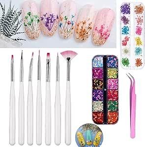 DIY Nail Art Tools Decoration Manicure Kit Including Glitter Nail Rhinestones, Nail Dried Flowers, Nails Sanding Buffing File Beauty Accessories Nail Art Set Kit
