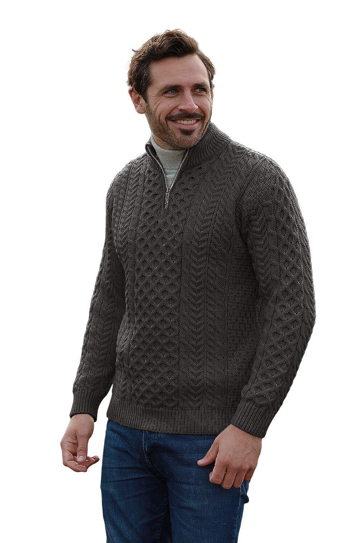 Men's Merino Wool Aran 1/2 Zipper Sweater
