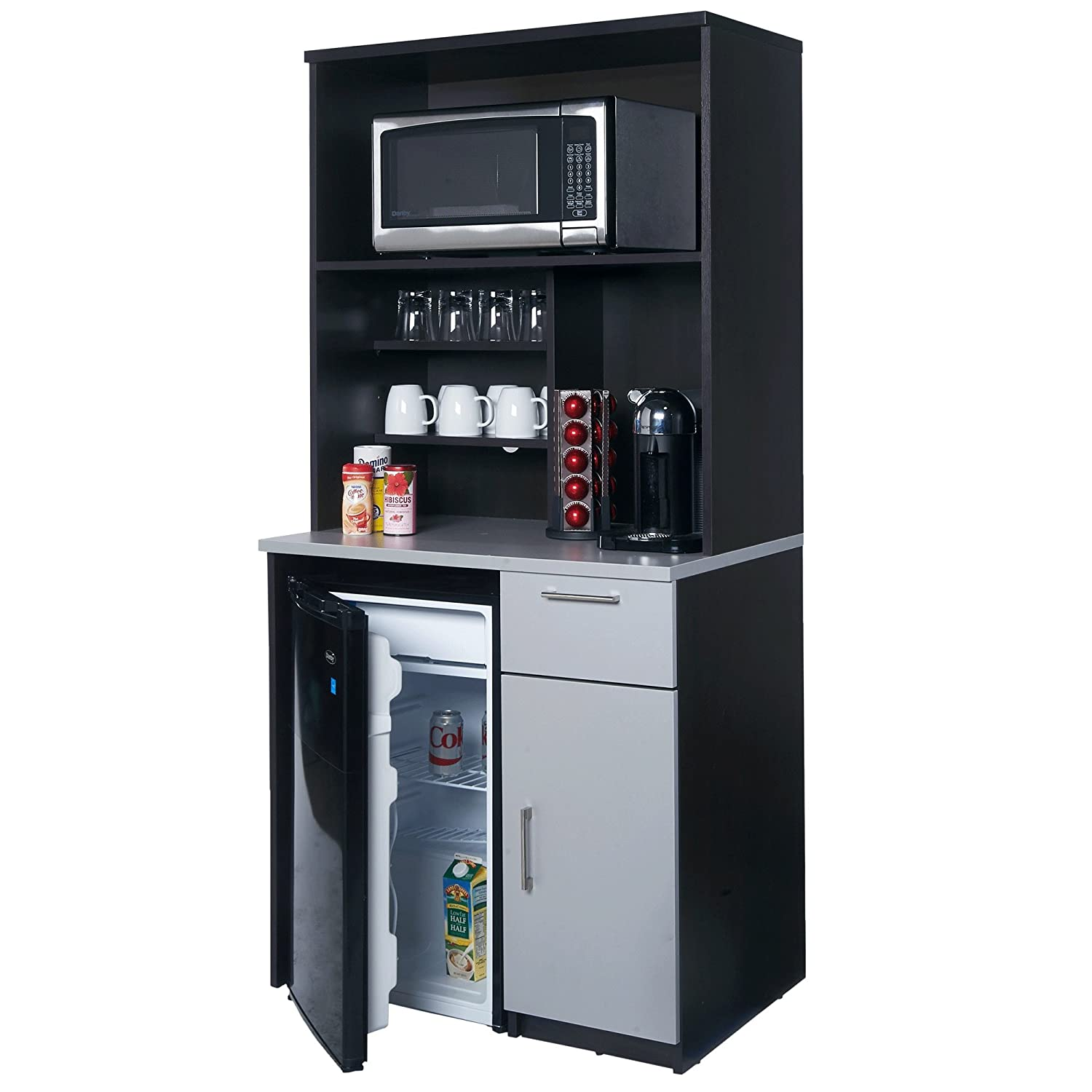 Coffee Break Lunch Room Furniture FULLY ASSEMBLED Ready To Use 2pc Group BREAKTIME Model 3199- EspressoGrey Color.INSTANTLY create your new Coffee Break Lunch Room Includes Furniture Cabinets Only