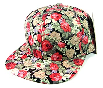 0545c115bb3 Image Unavailable. Image not available for. Color  Rose Garden Snapback  Floral Hawaiian Print Hat Cap