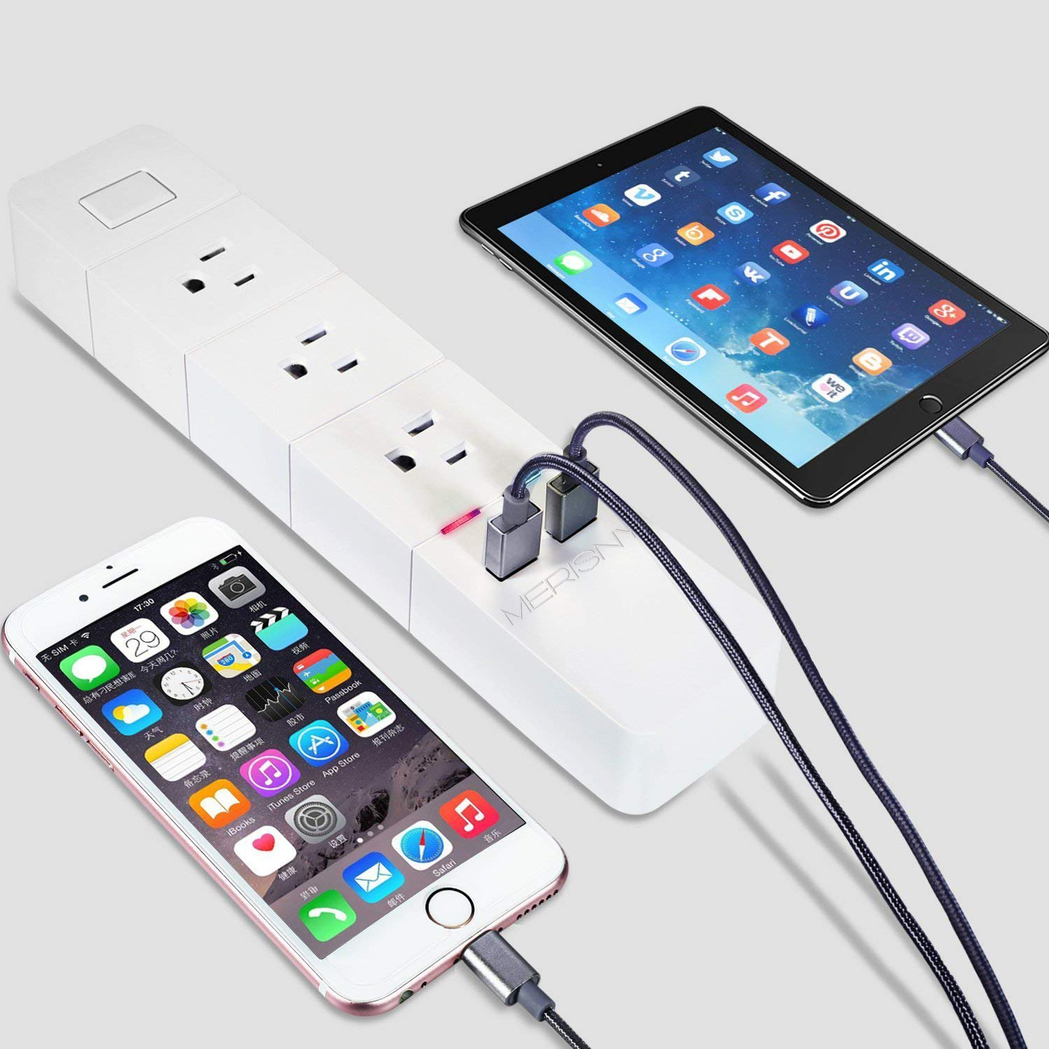 Merisny WiFi Power Strip Smart Surge Protector with Individual Control - Works with Alexa Google Home - Smart Surge Protector with USB - Remote Control by Smart Phone by Merisny (Image #3)